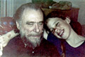 Photo of Charles Bukowski and daughter Marina, early 1970s